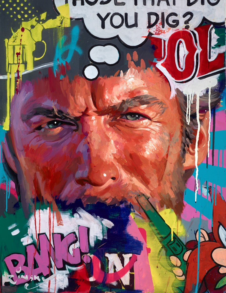 Clint Eastwood - BANG! by zinsky -  sized 27x36 inches. Available from Whitewall Galleries